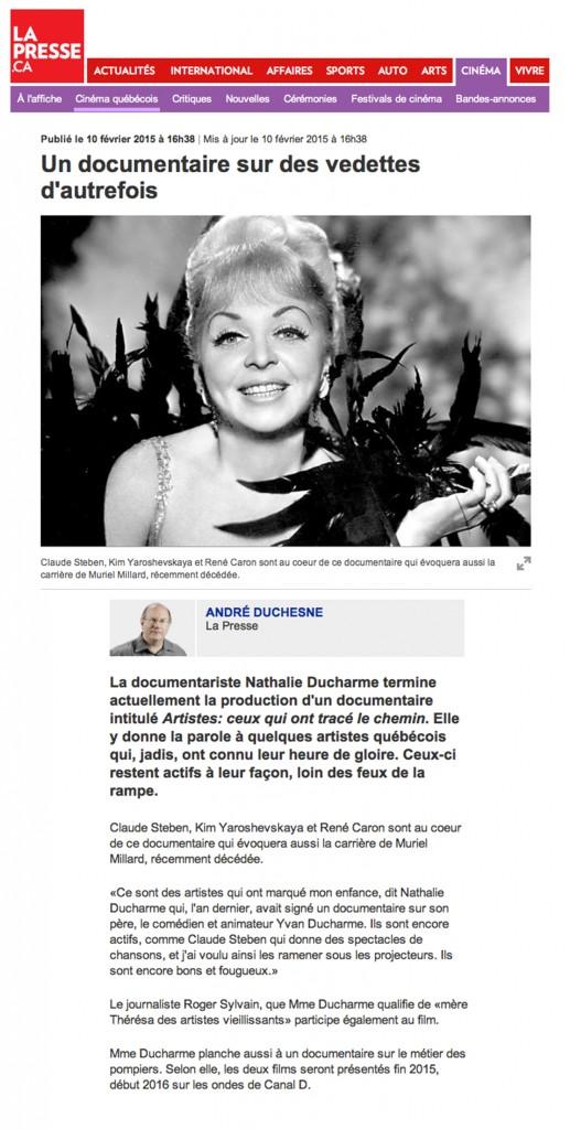 Un documentaire sur des vedettes d'autrefois - La presse - Nathalie Ducharme - TOUJOURS ARTISTE médias big deal productions