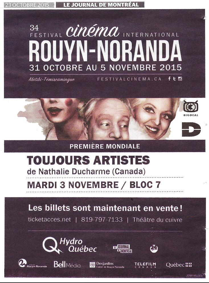 annonce journal de montréal-2- TOUJOURS ARTISTE de Nathalie Ducharme