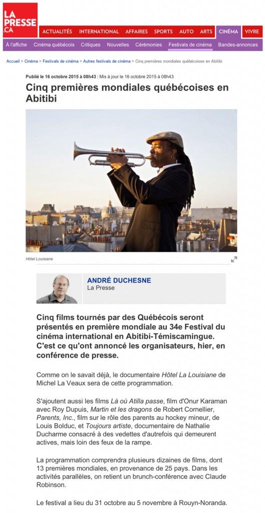 la presse - cinq premières mondiales Québécoises en Abitibi - TOUJOURS ARTISTE de Nathalie Ducharme