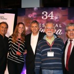 nathalie ducharme et claude steben avec les fondateurs du festival du cinéma international en abitibi témiscamingue guy parent, jacques matte et louis dallaire